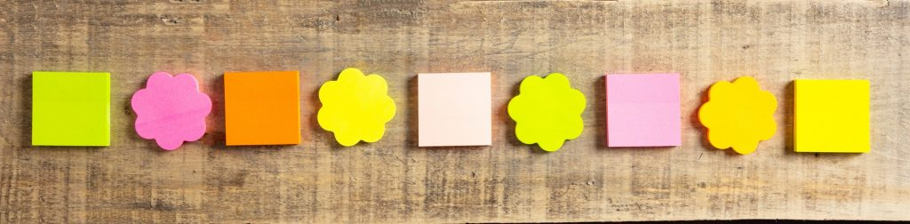 Sticky colorful notes in flower and square shapes, isolated, banner